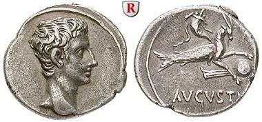 Römische Kaiserzeit. Augustus, 27 v.-14 n. Chr. Denar, 18-16 v. Chr., spanische Mzst. Fast vorzüglich. 900 EUR.