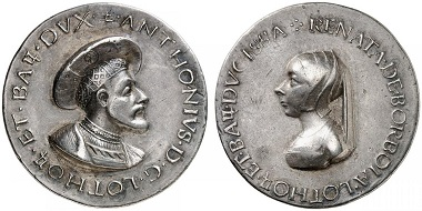 Lorraine. Antoine the Good, 1508-1534, with his spouse Renée de Bourbon-Montpensier, 1494-1539. Medal from Matteo del Massaro. From Grün sale 71 (2017), No. 1840. Estimate: 2,500 Euro