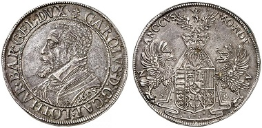 Lorraine. Charles III, 1545-1608. Taler 1603, Nancy. From Grün sale 71 (2017), No. 1865. Estimate: 4,000 Euro