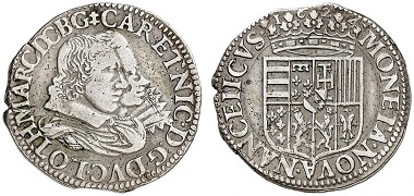 Lorraine. Charles IV and Nicole, 1624-1625. Teston 1624, Nancy. From Grün sale 71 (2017), No. 1879. Estimate: 125 Euro