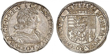 Lorraine. Charles IV, 1638-1639, mint from exile. Teston 1638, Remiremont / Vosges. From Grün sale 71 (2017), No. 1884. Estimate: 400 Euro