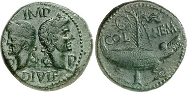 Augustus. As, ca. 16-10 v. Chr. Aus Auktion Gorny & Mosch 204 (2012), Nr. 1677.