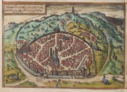 Blick aus der Vogelperspektive auf das frühneuzeitliche Nîmes. Deutlich erkennbar ist das auch heute noch bewundernswert erhaltene Amphitheater, die Maison Carrée und der große Turm, eine römische Ruine. Aus Citivates Orbis Terrarum, publiziert 1582 in Köln.