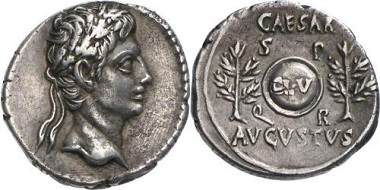 Augustus. Denarius, 19-18 BC. Mint: Nîmes or somewhere in Spain. From Gorny & Mosch auction sale 141 (2005), No. 248.