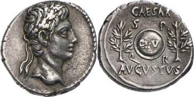 Augustus. Denar, 19-18. Münzstätte Nîmes oder irgendwo in Spanien. Aus Auktion Gorny & Mosch 141 (2005), Nr. 248.