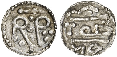 Pepin the Short. Denarius - not minted in Nîmes (there was no mint), but probably in Antrain or Saint-Denis. From Künker auction sale 227 (2013), 2080.