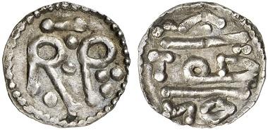Pippin der Kurze. Denar - nicht in Nîmes geprägt, dort befand sich keine Prägestätte, sondern wahrscheinlich in Antrain oder Saint-Denis. Aus Auktion Künker 227 (2013), 2080.