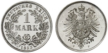 Lot 319. German Empire. 1 mark 1883 F. Of great rarity in this grade. Proof. Estimate: 5,000 euros