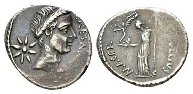 Lot 365: Iulius Caesar and P. Sepullius Macer. Denarius, circa 44 BC. Good very fine. Starting Bid: 450 GBP.