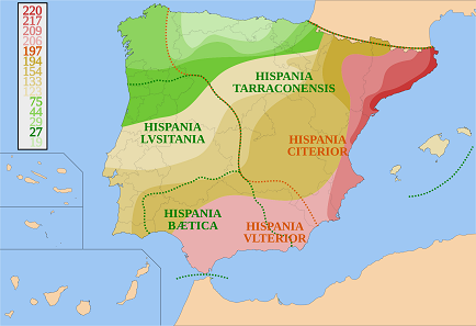 This map shows that the Romans didn't conquer the Iberian peninsula in a day. Source: HansenBCN / Wikipedia. CC BY-SA 3.0.