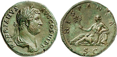 Hadrian, 117-138. Sesterce, 134-138. Rv. Hispania with branch. The usual small rabbit is missing. From Gorny & Mosch auction sale 240 (2016), No. 502.