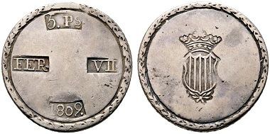 Tarragona. 5 Pesetas 1809. From Rauch auction sale 101 (2016), No. 1081.