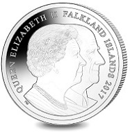 Falkland Islands. 70 Years of HM Queen Elizabeth II & HRH Prince Philip - Gooodwood Races 1954 / Sterling Silver / 28.28 g / 38.60 mm / Mintage: 2000.