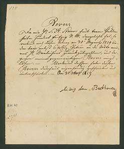 Letter of Ludwig van Beethoven promising to pay off 750 guilder of his dept of 2.420 guilder. By the way, the artist didn't succeed in doing so...