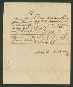 Brief von Ludwig van Beethoven - In diesem Brief verpflichtet sich Ludwig van Beethoven, Sigmund Anton Steiner bis zum 30. Dezember 1819 750 Gulden seiner insgesamt 2420 Gulden Schulden zurückzuzahlen. Dieses Ziel erreichte er jedoch nicht. Wien, 30. Oktober 1819.