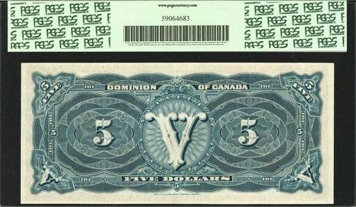 Canada. Dominion of Canada. 5 Dollar, 1912B. P-DC-21c. PCGS Gem New 65 PPQ.