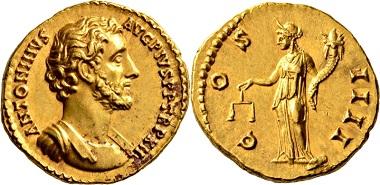 Los 512: Römische Kaiserzeit. Antoninus Pius, 138-161. Aureus, 148/149, Rom. Vorzüglich. Schätzung: 5.000 EUR. Zuschlag: 11.000 EUR.