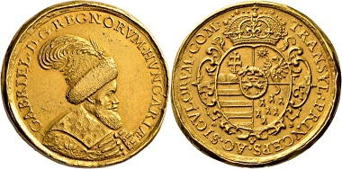 Lot 1636: Principality Transylvania. Gabriel Bethlen, 1613-1629. 15 ducats gold medal. Extremely fine. Estimate: 50,000 EUR. Hammer price: 60,000 EUR.