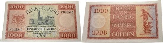 Los 2439: Freie Stadt Danzig. Bank Danzig. 1000 Gulden 10.02.1924. Sehr selten. Schätzung: 750 EUR. Zuschlag: 4.700 EUR.
