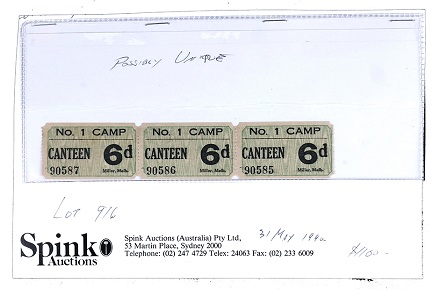 Lot 53: Tatura, Australia. World War II. Interment camp coupons. Estimate: 1,500-2,000 USD.