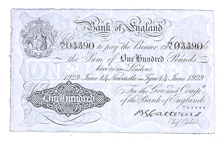 Lot 237: Great Britain. 1929 £100. Bank of England. White note. Estimate: 1,500-2,000 USD.