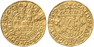 475. Transylvania. Achatius Barcsai (1659-1660). Ducat 1660, Hermannstadt (Sibiu), minted during the occupation by George Rákoczi. Extremely rare. Very fine. Estimate: 20,000 euros. Starting price: 12,000 euros.