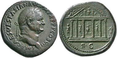 155. Vespasian, 69-79. Sestertius, 76. Rv. Temple of Jupiter Capitolinus. From Niggeler Collection (1967), No. 1161. Rare. Extremely fine / almost extremely fine. Estimate: 4,500 euros. Starting price: 2,700 euros.