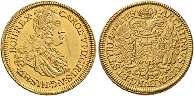 365. Holy Roman Empire. Charles VI (1711-1740). Triple ducat 1715, Graz. From Lanz sale 83, 194. Unique. Inspection mark, otherwise almost FDC. Estimate: 30,000 euros. Starting price: 18,000 euros.