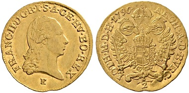 370. Holy Roman Empire. Francis I (1745-1765). 1/2 ducat 1796, Karlsburg. From Lanz sale 110, 244. Extremely fine. Estimate: 6,000 euros. Starting price: 3,600 euros.