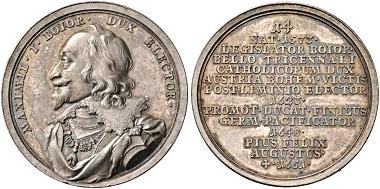 393. Bayern. Maximilian I. (1597-1623-1651). Suitenmedaille o. J. (1766/7-1770) von Franz A. Schega. Selten. Stempelglanz. Taxe: 600 Euro. Startpreis: 360 Euro