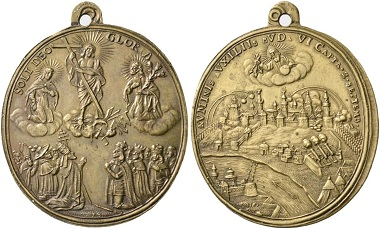 549. Budapest. On the victory of the Imperial troops over the Turks. Brass medal 1686. Very rare. FDC. Estimate: 600 euros. Starting price 360 euros.