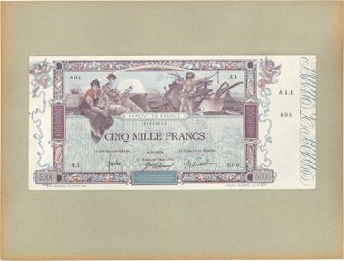 Bank of France. 5000 Francs Flameng France 1918. F.43.00 XF. Estimate: 12.000 EUR.