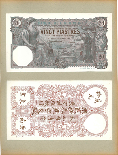 Bank of Indochina. 20 Piastres Haiphong 1909. P.017ap UNC. Estimate: 6.000 EUR.