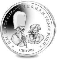 British Virgin Islands. 70 Years of HM Queen Elizabeth II & HRH Prince Philip - Giggles at Buckingham Palace / Sterling Silver / 28.28 g / 38.60 mm / Mintage: 2000.