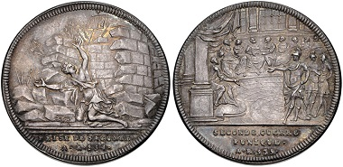 Switzerland. Silver medal by Genevan medalist Jean Dassier on the Siege of Saguntum, 1740-1750. Obverse: personification of Sagunto under the crashing walls. Reverse: Roman senate in session. From RBW collection and CNG auction sale 364 (2015), No. 392.
