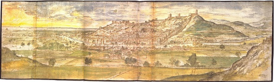 Der Burgberg von Sagunt im Jahr 1563. Von Anton van den Wyngaerde.