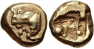Lot 171: Lesbos, Mytilene. EL Hekte-Sixth Stater, circa 521-478 BC. Good VF. Estimate: 500 USD.
