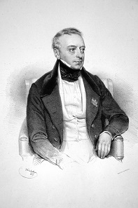Salomon Mayer Freiherr von Rothschild founded the Austrian branch of the Rothschild bank empire. lithograph by Josef Kriehuber 1839.