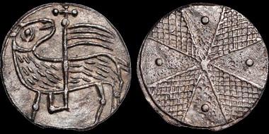 Lot 124: Thirteenth Century Britain. Pewter token. Pascal lamb. Near Extremely Fine. Estimate: 350 USD.