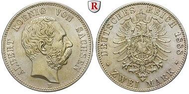Deutsches Kaiserreich. Sachsen. Albert, 1873-1902. 2 Mark 1888. E. Vorzüglich-stempelfrisch. 1.900 EUR.