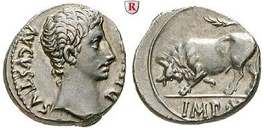 Römische Kaiserzeit. Augustus, 27 v.-14 n.Chr. Denar 15-13 v. Chr. Lyon. Vorzüglich. 2.500 EUR.
