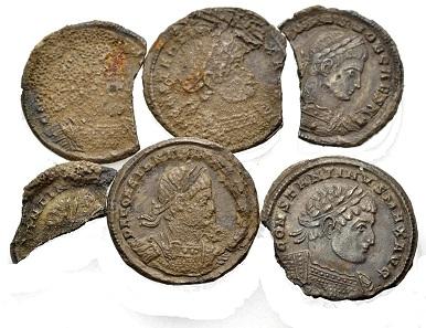 Multiple lot of miliarense fragments. March 317, Sirmium. The busts of Constantinus I resp. Constantinus II Caesar. From Münzen & Medaillen sale 45 (June 9, 2017), no. 1047.
