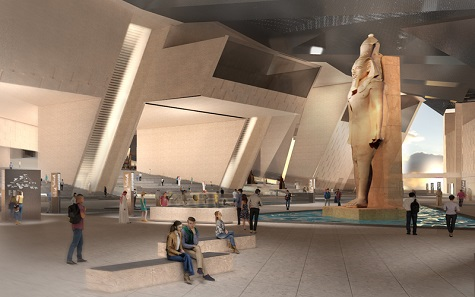 Conception of the atrium in the GEM – Grand Egyptian Museum. Image: Atelier Brückner.