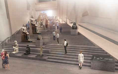 GEM – Grand Stairs, Grand Egyptian Museum. Image: Atelier Brückner.