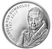 250 Jahre Wilhelm v. Humboldt Gedenkprägung der Münze Berlin / 1 Unze .999 Silber / 37 mm / Design: Stefanie Lindner, Münze Berlin / Auflage: 500.