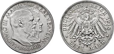 Los 1571: Silbermünzen des Kaiserreiches, Bayern. Königreich Ludwig III. 1913-1918. München. 3 Mark 1918 D. St. Taxe: 20.000 Euro. Zuschlag: 36.000 Euro.