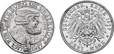 Los 1658: Silbermünzen des Kaiserreiches, Sachsen. Königreich Friedrich August III. 1904-1918. Muldenhütten. 3 Mark 1917 E. PP. Startpreis: 55.000 Euro. Zuschlag: 65.000 Euro.