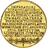 Lot 3482: Augsburg. Gold medal of 8 ducats 1706 by C. J. Leherr on the relief of the cities of Augsburg and Ulm in 1704. Unique. Extremely fine to FDC. Estimate: 40,000 euros.
