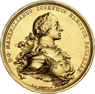 Lot 3494: Bavaria. Maximilian III Joseph, 1745-1777. Gold medal of 50 ducats no date (1759) by F. A. Schega on the Prince-Elector and his wife Maria Anna. Extremely rare. Extremely fine. Estimate: 75,000 euros.