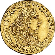Lot 3208: Sweden. Charles X Gustav, 1654-1660. Ducat 1657, Stockholm. Extremely rare. Very fine to extremely fine. Estimate: 20,000 euros.